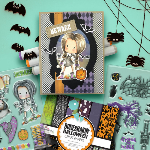 Boneshakin Halloween Winnie Wednesday clear stamp set