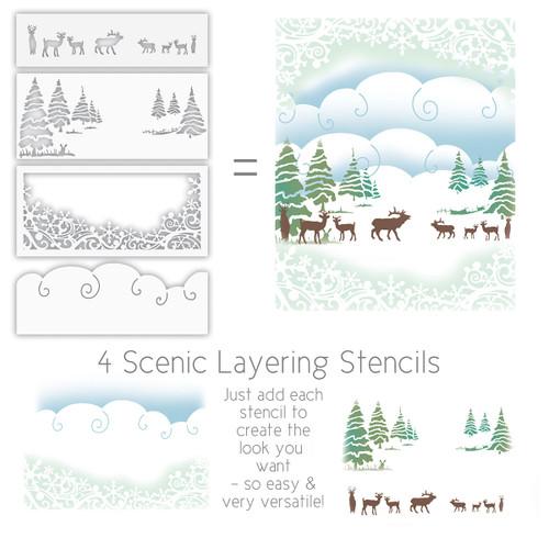 Christmas Holiday Layering Stencils x 4