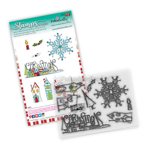 Christmas Holiday Scenes clear Stamp set - 8 stamps