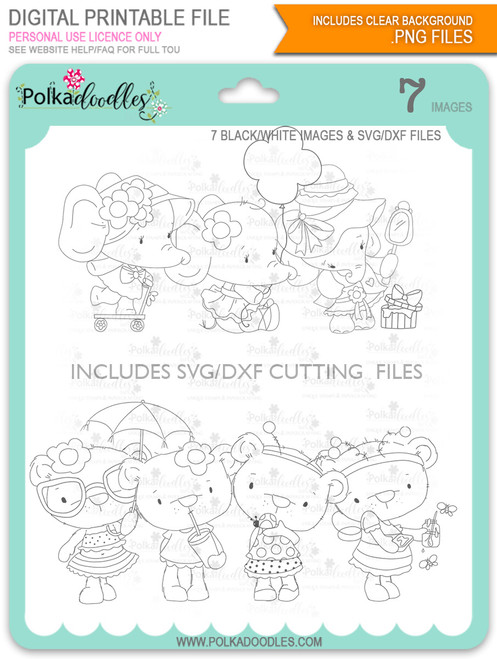 Too Cute Agnes & Bella digi stamp & SVG/DXF Cutting File bundle