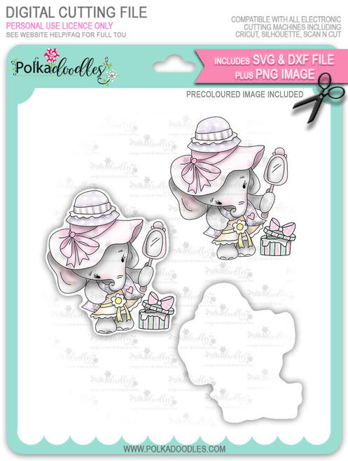 Agnes Elephant Hat Shopping - Precoloured digi stamp, SVG/DXF Cutting File