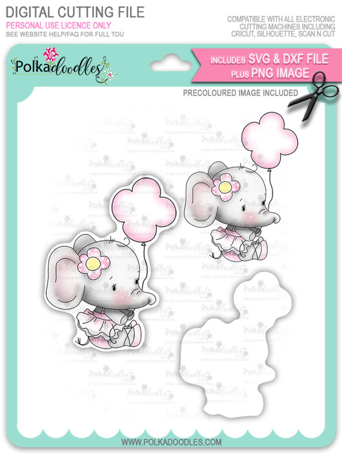 Agnes Elephant Balloon - Precoloured digi stamp, SVG/DXF Cutting File
