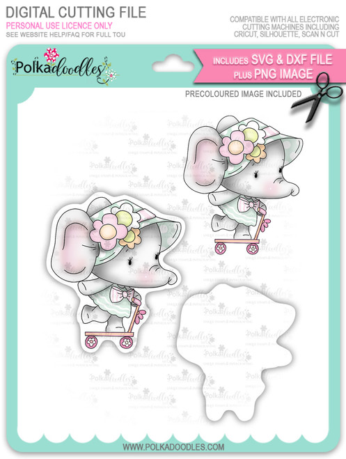 Agnes Elephant Scooter - Precoloured digi stamp, SVG/DXF Cutting File