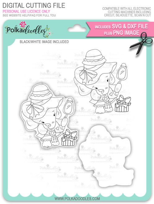 Agnes Elephant Hat Shopping - digi stamp, SVG/DXF Cutting File
