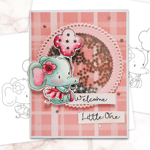 Agnes Elephant Balloon - digi stamp, SVG/DXF Cutting File