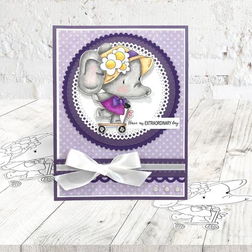 Agnes Elephant Scooter - digi stamp, SVG/DXF Cutting File