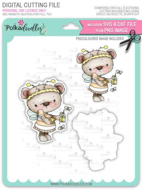 Bella Bear Bee Costume - Precoloured digi stamp, SVG/DXF Cutting File