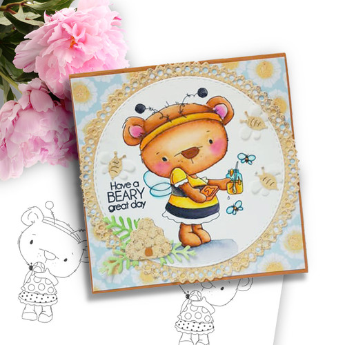 Bella Bear Bee Costume - Precoloured digi stamp, SVG/DXF Cutting File