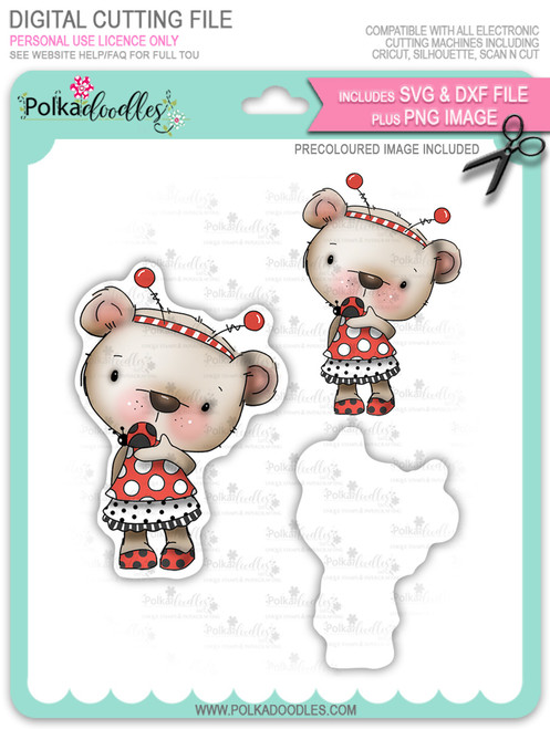 Bella Bear Ladybug - Precoloured digi stamp, SVG/DXF Cutting File