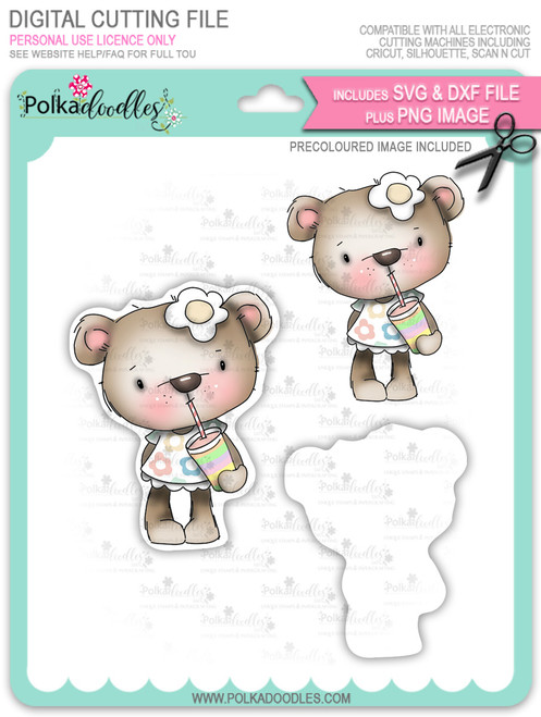 Bella Bear Milkshake - Precoloured digi stamp, SVG/DXF Cutting File