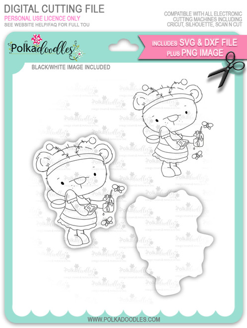 Bella Bear Bee Costume - digi stamp, SVG/DXF Cutting File