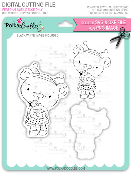 Bella Bear Ladybug - digi stamp, SVG/DXF Cutting File