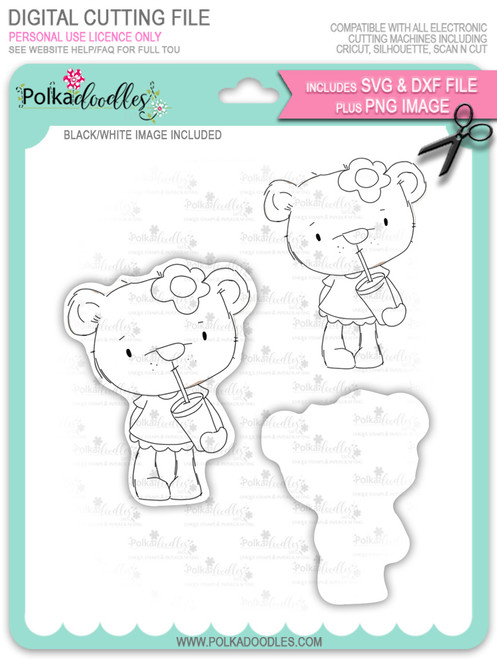 Bella Bear with Milkshake - digi stamp/with SVG/DXF Cutting File