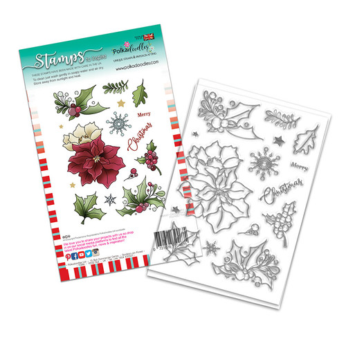 Merry Christmas Poinsettia Holiday stamp set (PD8093A)