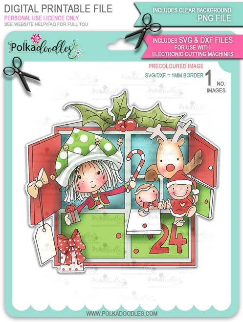 Advent Calendar - precoloured Winnie North Pole download including SVG file