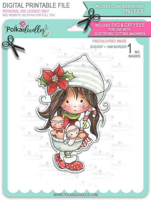 Gingerbread Basket - precoloured Winnie North Pole download including SVG file