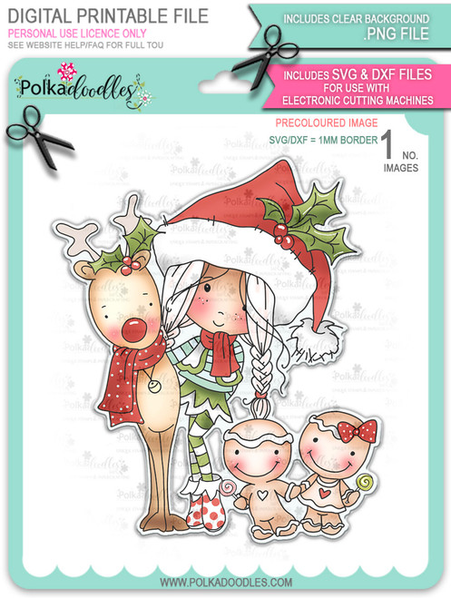 Christmas Candy - precoloured Winnie North Pole download including SVG file