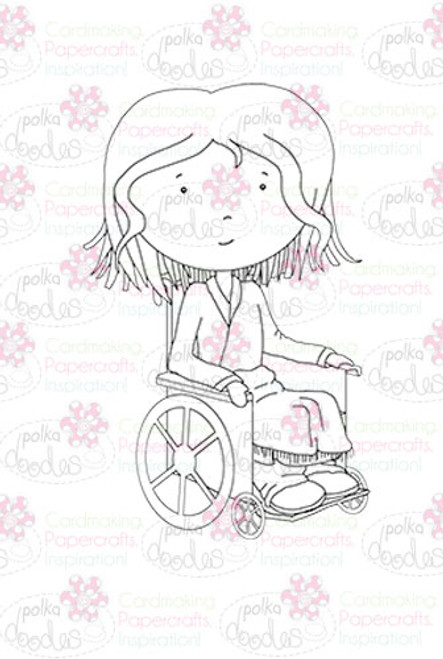Poorly Patty in a Wheelchair digital stamp download