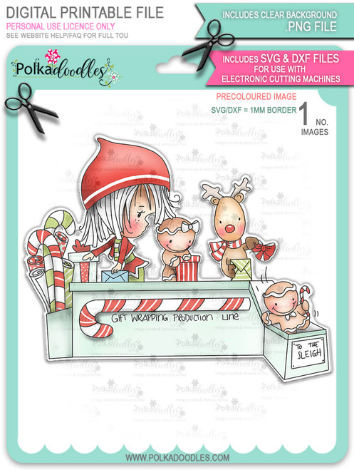 Santa's Workshop Production Line - precoloured Winnie North Pole digital stamp download including SVG file