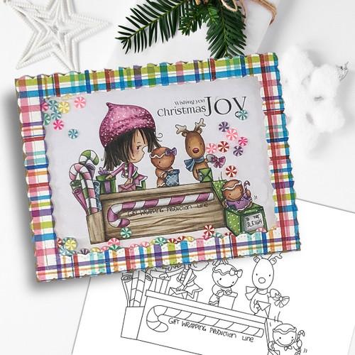 Santa's Workshop Production Line - precoloured Winnie North Pole digital stamp download including SVG file