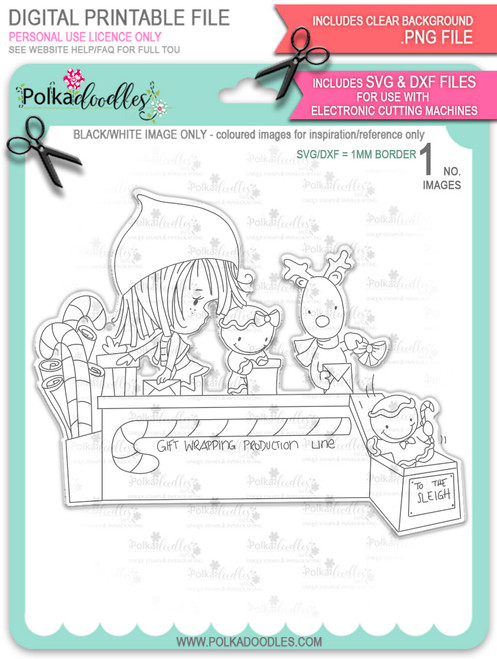 Santa's Workshop Production Line - Winnie North Pole digital stamp download including SVG file