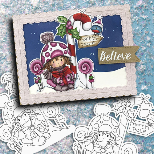 North Pole - precoloured Winnie North Pole digital stamp download including SVG file
