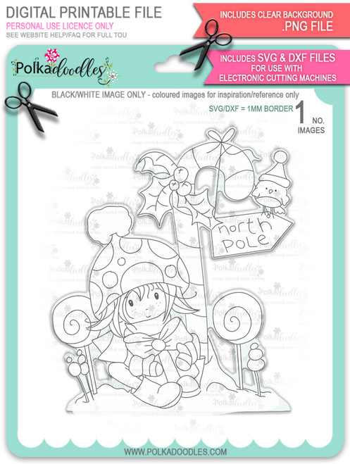 North Pole - Winnie North Pole digital stamp download including SVG file