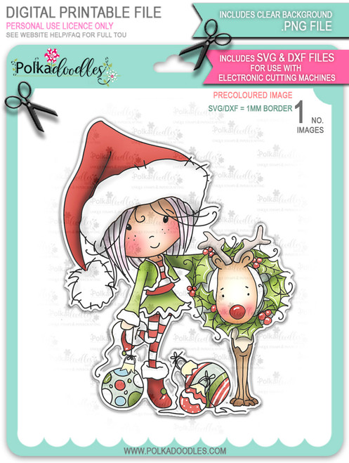 Rudolph Reindeer Wreath - precoloured Winnie North Pole digital stamp download including SVG file