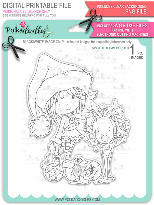 Rudolph Reindeer Wreath - Winnie North Pole digital stamp download including SVG file