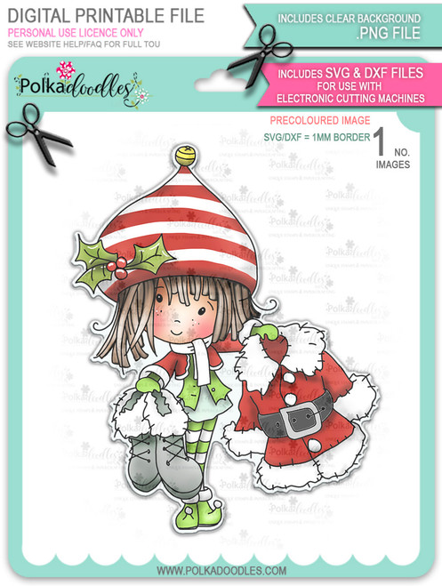 Santa's Suit - precoloured Winnie North Pole digital stamp download including SVG file