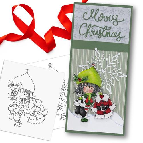 Santa's Suit - precoloured Winnie North Pole digital stamp download including SVG file