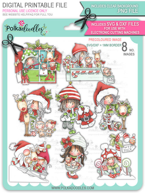 Winnie North Pole - Precoloured Bundle - digital stamp downloads including SVG file
