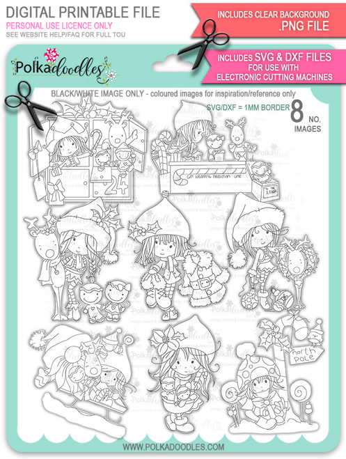 Winnie North Pole - Bundle of digital stamp downloads including SVG file