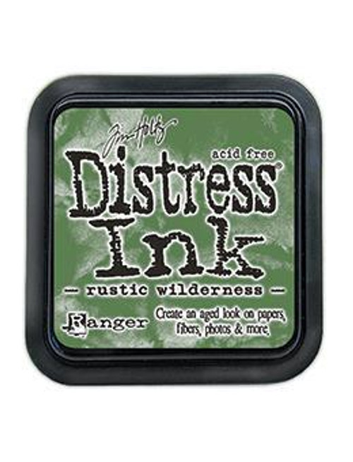 "Rustic Wilderness Distress Inks are a collection of water based, fade resistant, dye inks formulated to create aged vintage effects on papers and other porous surfaces. The innovative properties of Distress Ink are unlike any other inks since they react with water and maintain color integrity. Available in a  3"" x 3"" raised felt ink pad."