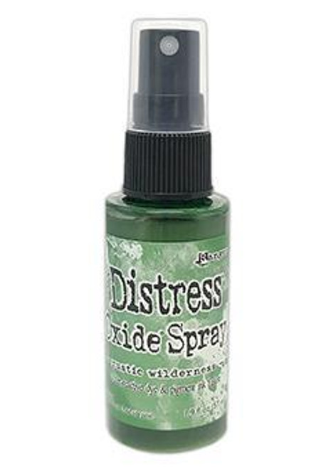 Rustic Wilderness Distress Oxide Spray ink - Tim Holtz. Tim Holtz Distress® Oxide® Spray is a dye and pigment ink fusion that creates oxidized effects when sprayed with water. Use for quick and easy ink coverage on porous surfaces. Spray through stencils, layer colors, spritz with water and watch the color mix and blend.  2oz bottle