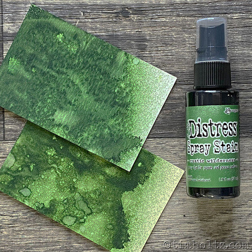 Rustic Wilderness Distress Stain Spray ink - Tim Holtz.  Spray directly on porous surfaces for quick, easy ink coverage. Mist with water to blend color and create mottled effects. Spray through stencils, layer colors, spritz with water and watch the color mix & blend. Spray Stains coordinate with the Distress palette of products.