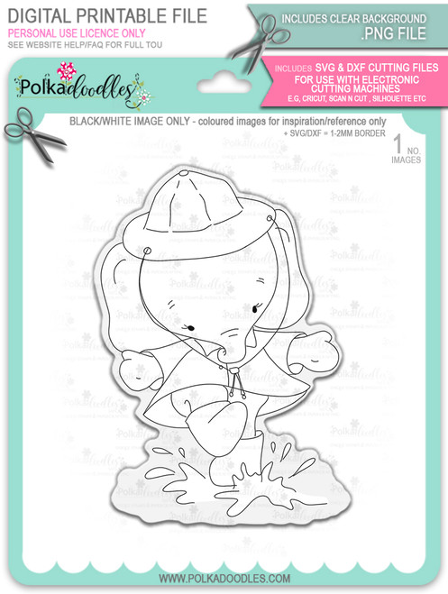 Eli Elephant Splashing Puddles - Christmas Holiday Too Cute digital stamp download including SVG file