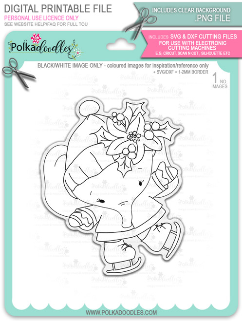 Agnes Elephant Ice Skating - Christmas Holiday Too Cute digital stamp download including SVG file