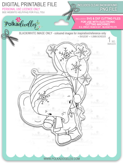 Eli Elephant with Snowflake Balloons - Christmas Holiday Too Cute digital stamp download including SVG file