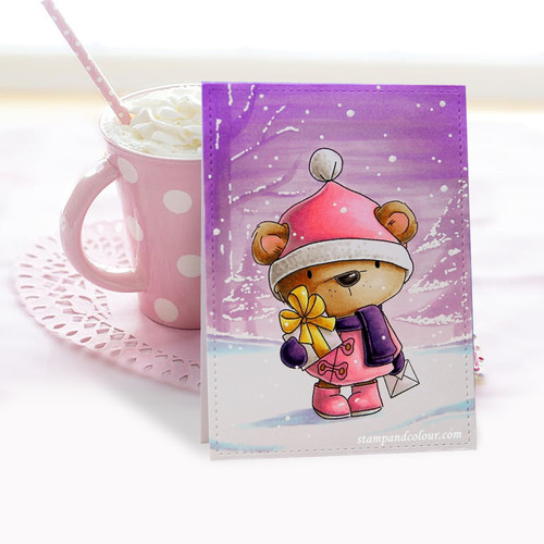 Bella Bear delivering Gifts - Christmas Holiday Too Cute digital stamp download including SVG file