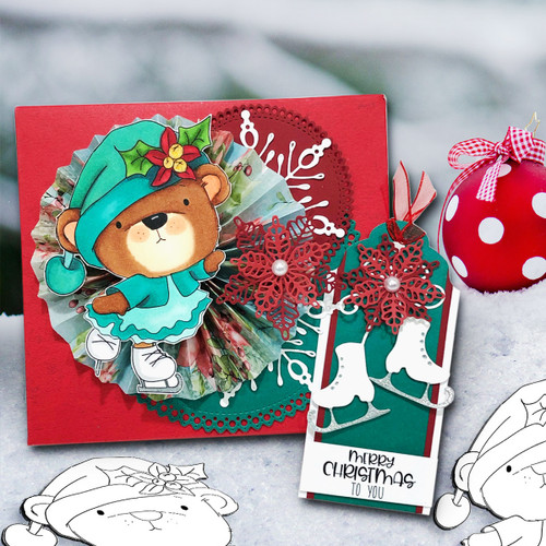 Bella Bear Ice Skating - Christmas Holiday Too Cute digital stamp download including SVG file