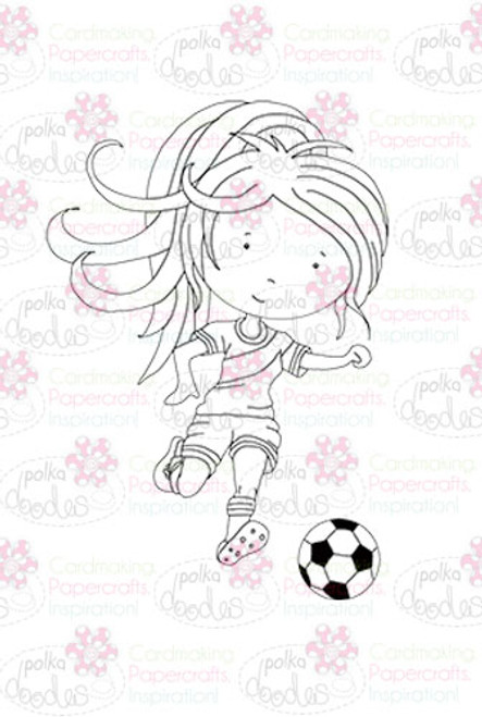 Footballer Girl digital stamp download
