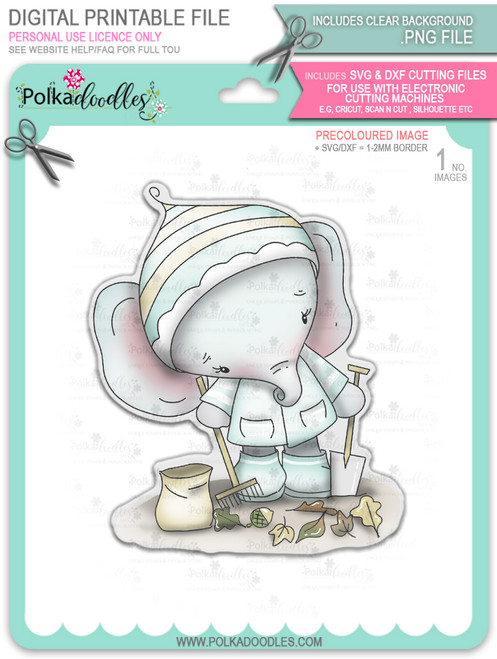 Eli Elephant Clearing Leaves - precoloured Christmas Holiday Too Cute digital stamp download including SVG file