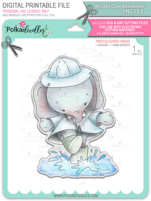 Eli Elephant Splashing Puddles - precoloured Christmas Holiday Too Cute digital stamp download including SVG file