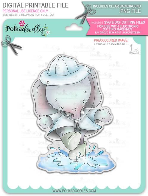 Eli Elephant Splashing Puddles - precoloured Christmas Holiday Too Cute digital stamp download including SVG file