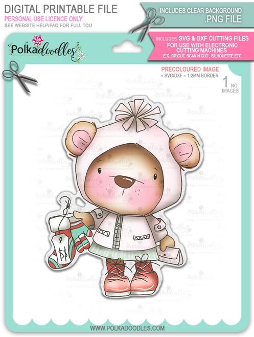 Bella Bear Shopping for Winter Socks - Christmas Holiday Too Cute digital stamp download including SVG file