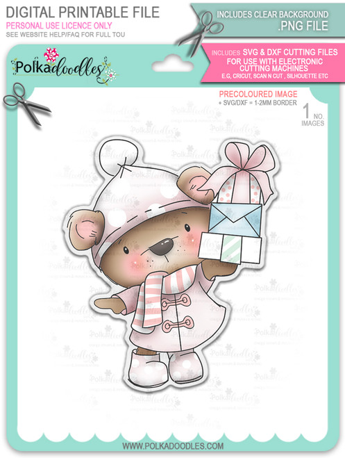 Bella Bear with lots of Parcels/Gifts - Christmas Holiday Too Cute digital stamp download including SVG file