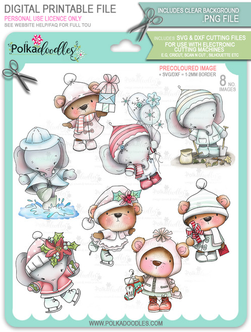 Too Cute Winter Wonders Bears & Elephants Bundle - precoloured Christmas Holiday Too Cute digital stamp downloads including SVG files
