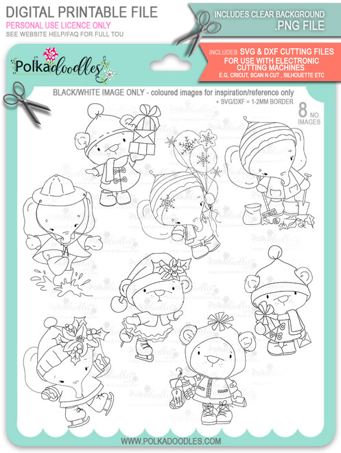 Too Cute Winter Wonders Bears & Elephants Bundle - Christmas Holiday Too Cute digital stamp downloads including SVG files
