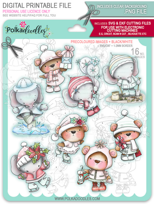 Too Cute Winter Wonders Bears & Elephants Big Kahuna Bundle - Christmas Holiday Too Cute digital stamp downloads including SVG files